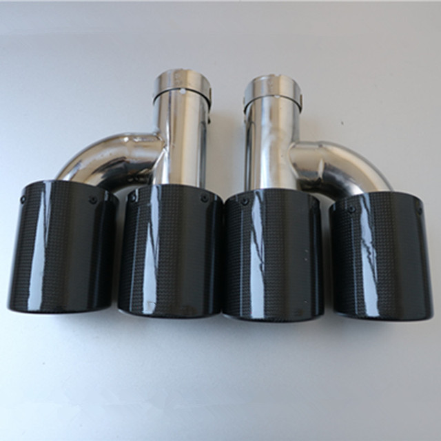 1 Pair: Car exhaust pipe H Model Carbon Exhausts Dual End Tips Exhaust Dual Muffler Pipes Tail Tips