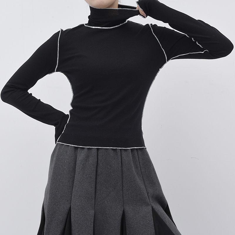 [EAM]2021New Frühling Herbst Hohe Kragen Langarm Einfarbig Schwarz Reffles Split Joint Lose T-shirt Frauen Mode flut JE155