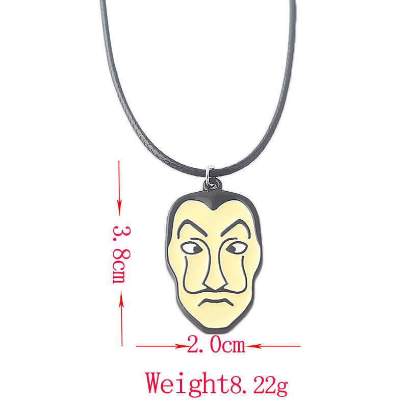 Acara TV La Casa De Papel Salvador Dali Masker Kalung Rumah Uang Kertas Pencurian Cospaly Kalung untuk Wanita pria Hadiah Perhiasan