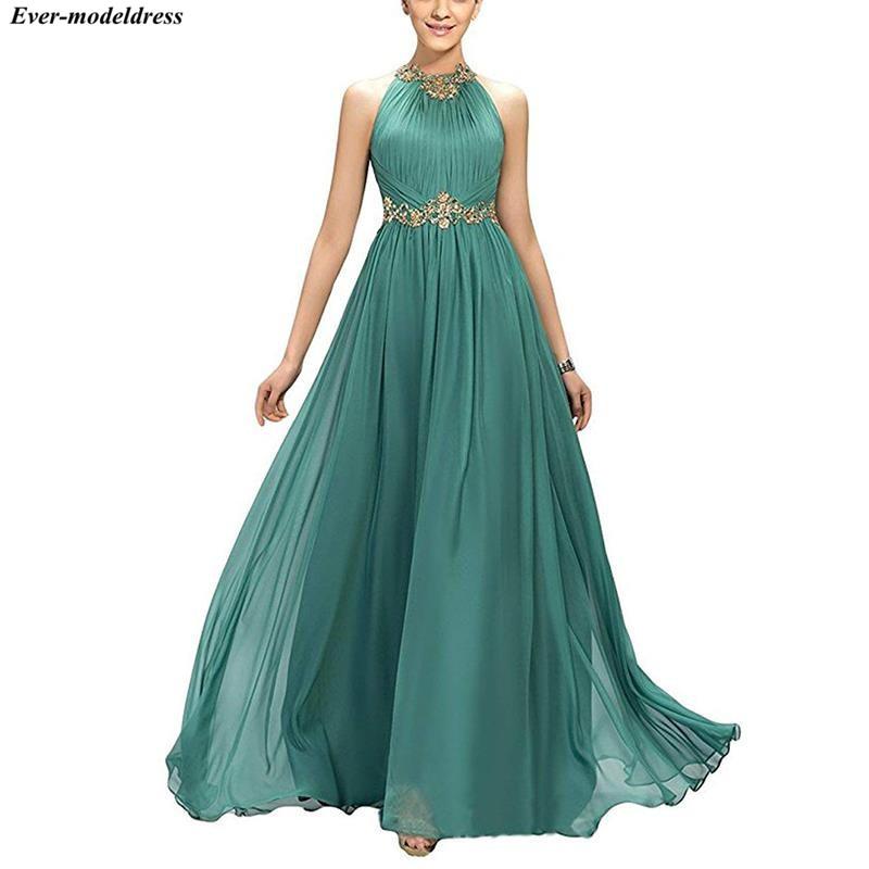 2021 Prom Dresses Long A Line Pleats Beaded Appliques Empire Chiffon Bridesmaid Dress Elegant Floor Length Evening Party Gowns