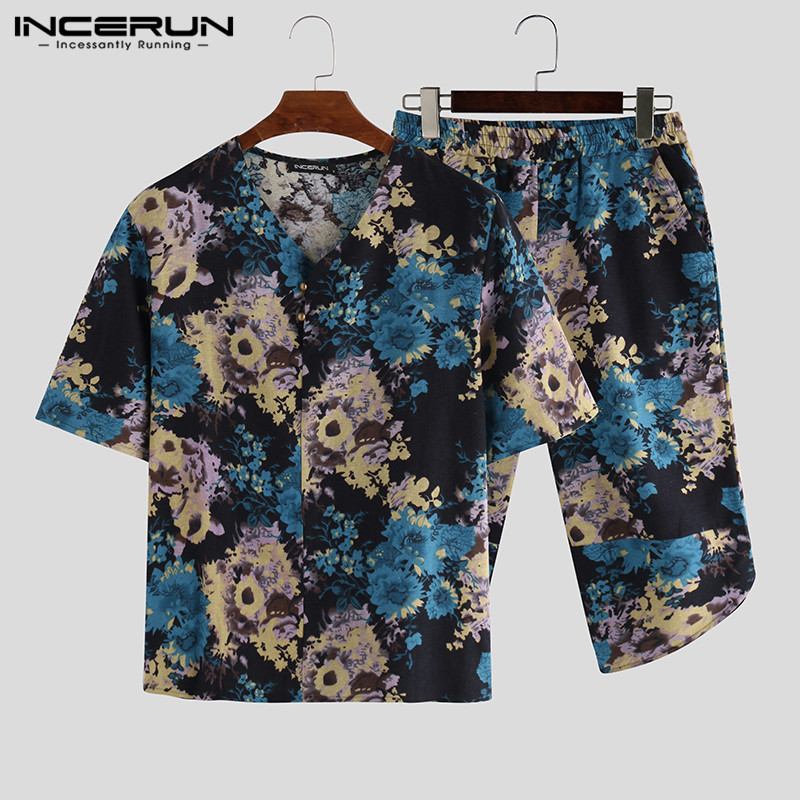 INCERUN Men Sets Floral Print Vintage V Neck Short Sleeve T Shirts Pants 2 Pieces Chinese Style Casual Men Sets Streetwear S-3XL