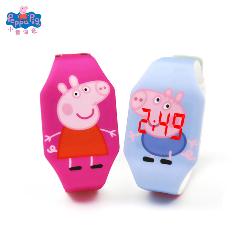 Peppa Pig Cartoon Figure Luminous Watch Cute Student Children LED Light Watch PVC Material Strap Movable Humanoid Robot Gift Toy