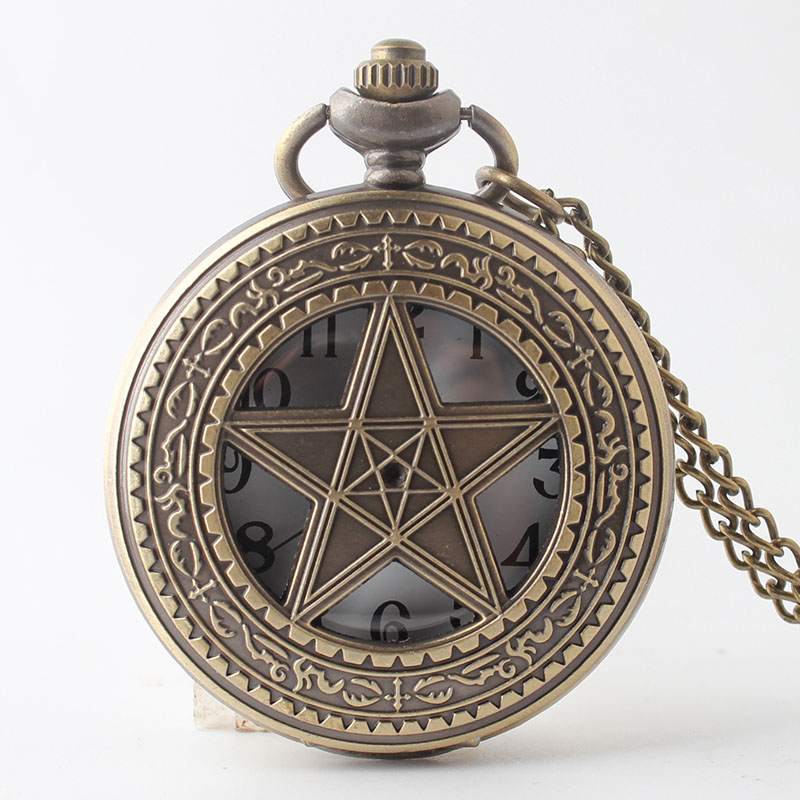Pocket & Fob Watch Bronze Hollow Star Quartz Pocket  Watch Necklace Women Analog Pendant Necklace Men Women Watch Gift