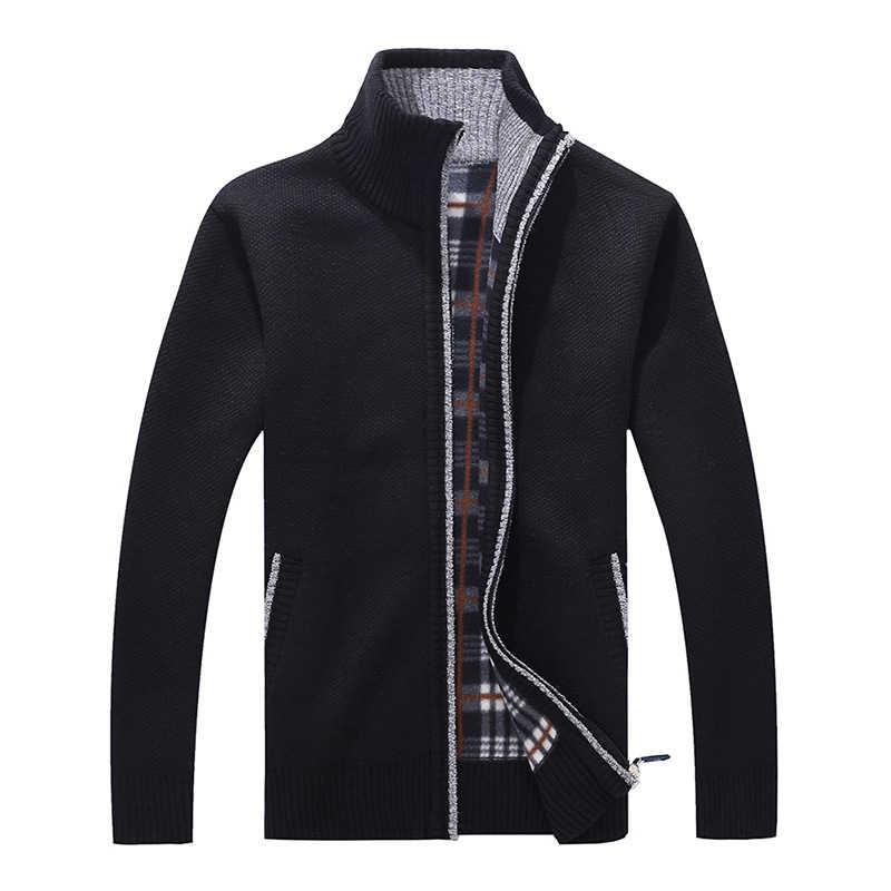 Pria Baru Fashion Merek Hangat Ritsleting Cardigan Jaket Sweater Slim Lengan Panjang Warna Solid Regular Turtleneck Sweater untuk pria