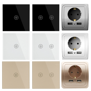 Image 3 - Smart Home Wall Touch Switch Eu Stanard Plug Socket Dual Usb Switches Crystal Glass 1 2 3 Gang 1 Way For Wall