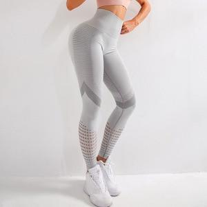 Image 5 - Wmuncc יוגה חותלות ספורט מכנסיים נשים כושר אנרגיה חלקה כושר חותלות גבוהה מותן חלול החוצה סקסי לדחוף את ריצה הדוק