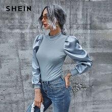 SHEIN Mock Neck Satin Lantern Sleeve Rib-knit Top Women Autumn Tees Office Lady Stand Collar Slim Fitted Elegant T-shirts