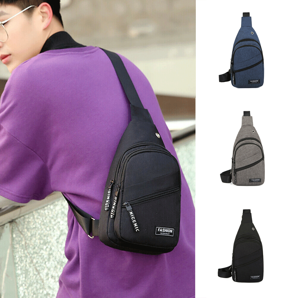 Men Canvas Messenger Bag USB Charging Laptop Chest Pack Casual Travel Fashion Designer Small Crossbody Back