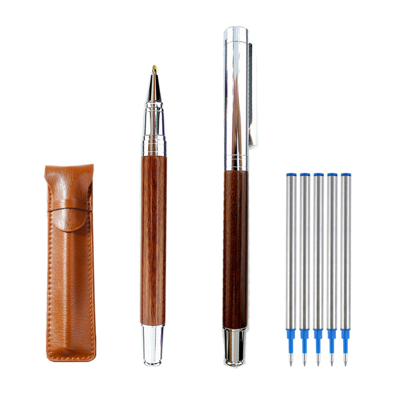 Rollerball Pen with Ink Refill, Wooden Barrel Vintage Writing Signature Pen, Business Office School Supplies