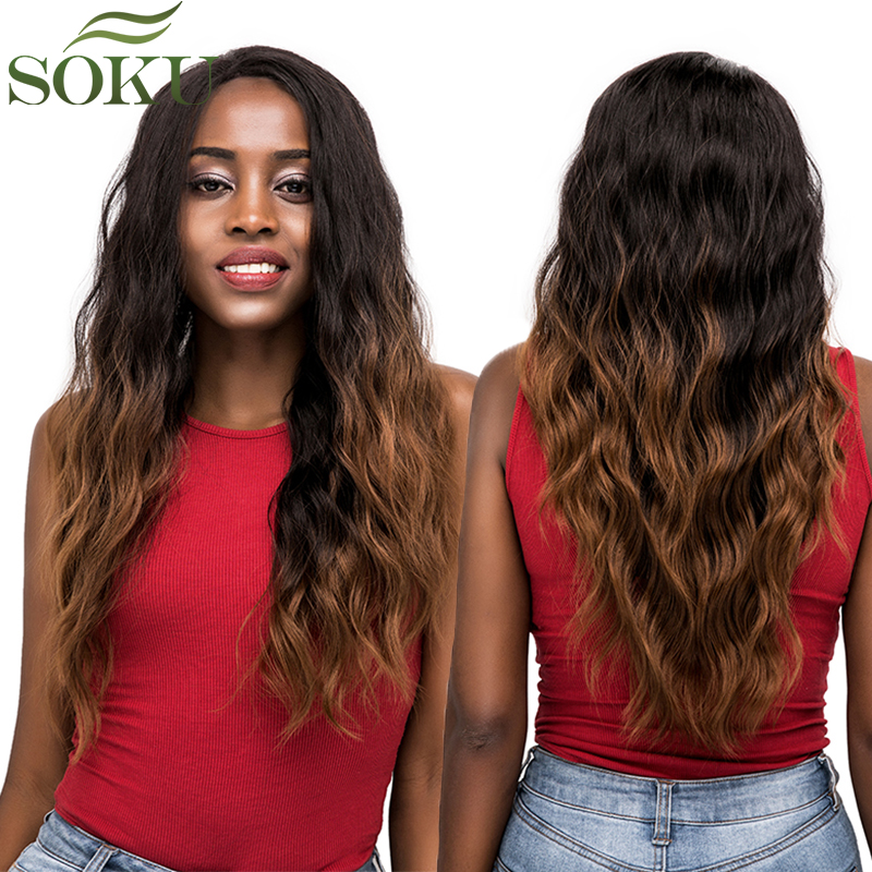 SOKU Wig Lace-Wig Free-Part Baby-Hair Brown Glueless Black Synthetic Ombre Women Wavy