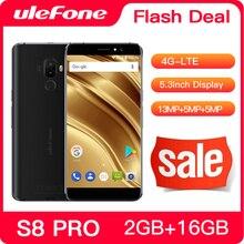 Ulefone s8 pro telefone móvel 5.3 polegada hd mtk6737 quad core android 2gb + 16gb impressão digital 4g smartphone