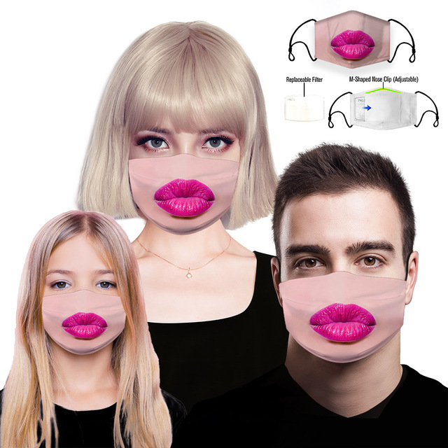 Funny Lips Printing mouth Mask Reusable Protective PM2.5 Filter Paper Mask anti dust Face mask bacteria proof Flu Mask