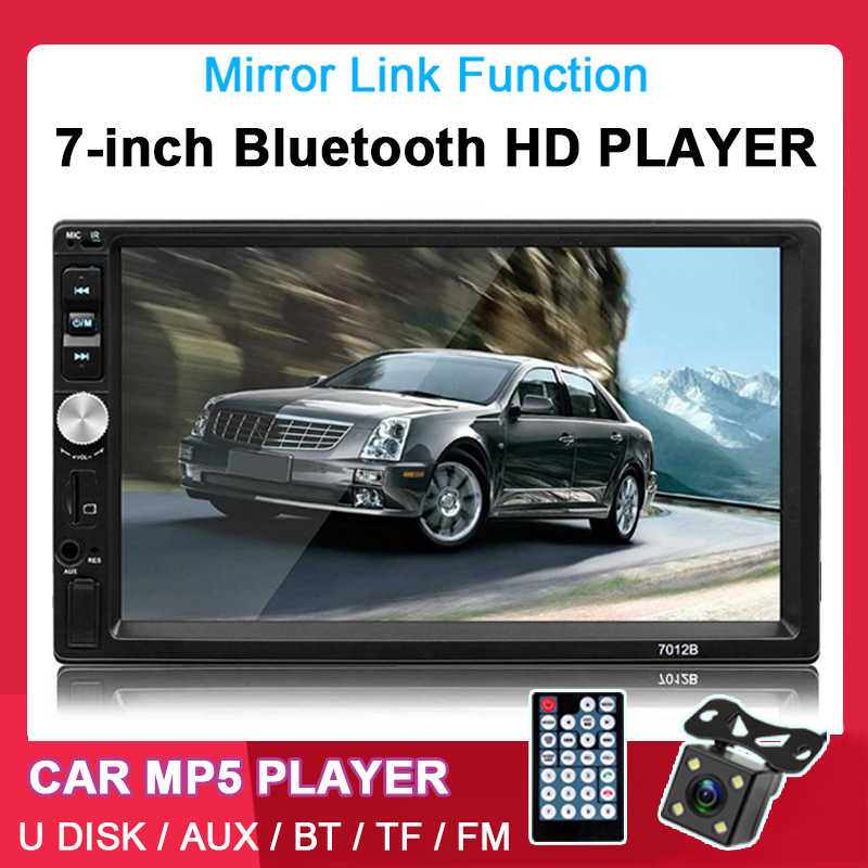 2 Din 7 Inci Bluetooth Sentuh Layar Mobil Radio Handfree Juga Stereo 12V AUX FM USB TF 13 Bahasa dengan Kamera Belakang MP5 Pemain