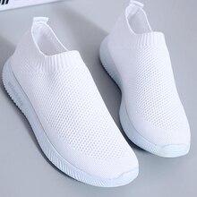 Women White Sneakers Female knitted Vulcanized Shoe
