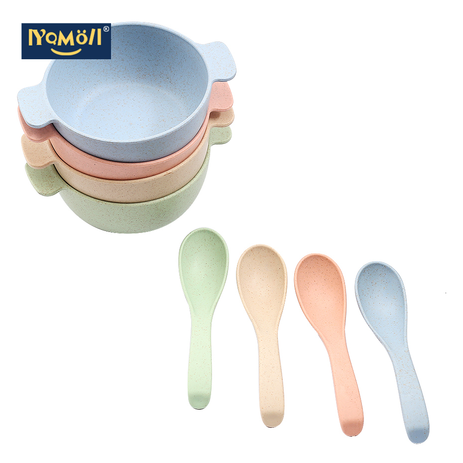 Wheat Straw Baby Feeding Bowl Kid's Rice Bowl With Spoon Cute Dinner Plate Children Baby Cartoon Food Tableware