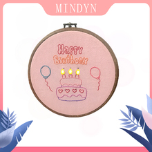 DIY Embroidery LED Light Birthday Cake Material Package Cute Glowing Home Decoration Gift