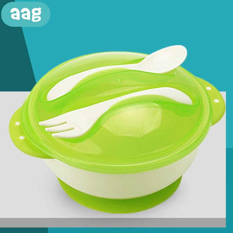 AAG Baby Bowl Set With Sucker Child Dishes Tableware Non-slip Kids Plate On The Sucker Baby Training Feeding Bowls Dinnerware