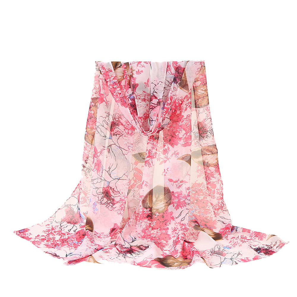 2020 New Autumn Winter Fashion Women Flower Printing Long Soft Wrap Scarf Shawl Scarves Ink Painting Chiffon Scarves Shawl #1004