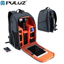 Puluz mochila de ombro dupla à prova d'água, portátil, à prova de arranhões, câmera digital dslr, bolsa de vídeo para laptop