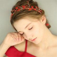 Fashion Red Geometric Hairband Ornaments Wedding Headdress For Bride Handmade Party Bridal Headband Jewelry Accessories