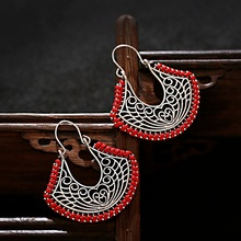 Ethnic Hollow Silver Color Geometric Earrings Charm Red line Drop For Women Wholesale 2020