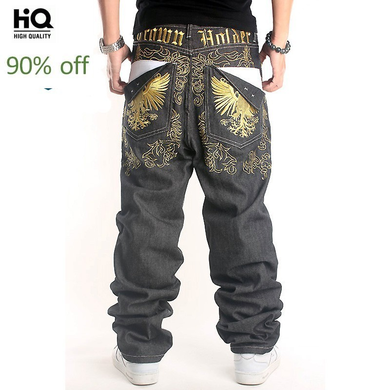Harajuka Fashion Embroidery Full Length Straight Loose Men Denim Pants Hip Hop Style Street Dance Wear Cowboy Trousers Plus Size