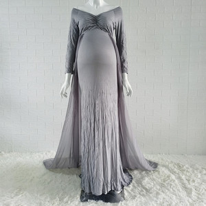 Image 5 - Baby Shower Jersey Dresses Maternity Photography Long Dress with Cloak Fitted Pregnancy Dresses Chiffon Cloak  Maternity Gown