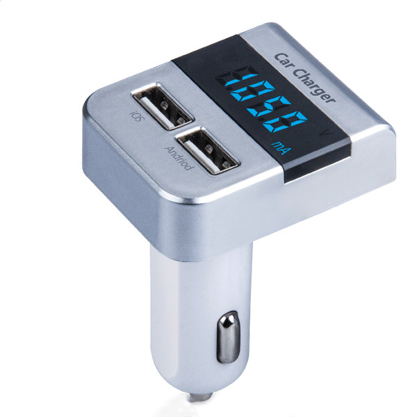 2.1A Dual <font><b>USB</b></font> <font><b>Car</b></font> <font><b>Charger</b></font> 2 Port LCD Display 12-24V Cigarette Socket <font><b>Lighter</b></font> Fast <font><b>Car</b></font> <font><b>Charger</b></font> Power Adapter <font><b>Car</b></font> Styling Silver image
