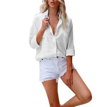 Damskie topy i bluzki kobiety trwała bawełna koszula lniana z długim rękawem klapa przycisk bluzka z guzikami koszula Blusas Mujer De Moda 2021 tanie i dobre opinie Cooeverly CN (pochodzenie) REGULAR Linen Stałe Na co dzień Wykładany kołnierzyk Pełne Zestaw jednoczęściowy Na wiosnę jesień