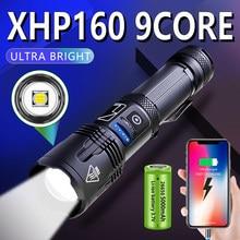 Ultra parlak XHP160 9 çekirdek LED el feneri 5000mAH USB şarj edilebilir Zoom led 5 modları taktik el feneri el feneri 18650/26650 pil