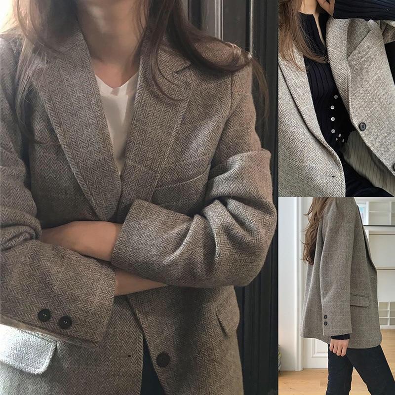 Blazer Women Spring 2020 Korean Version Of The Slim And Wild Wool Suit New Casual Long-sleeved Ladies Suit