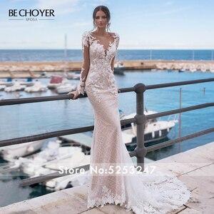 Image 2 - Robe de mariée à manches longues dentelle sirène Appliques perlée dos nu Vestido de Noiva 2020 lumière princesse BECHOYER N162 robe de mariée