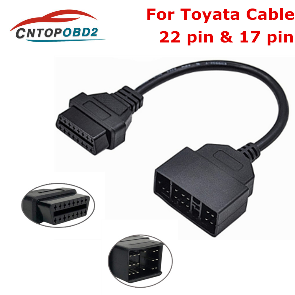 OBD2 Cable Adapter For Toyota 22 Pin To16 Pin Female OBD 2 OBDII Connector Adapter Cable Car Diagnostic Cable For TOYOTA
