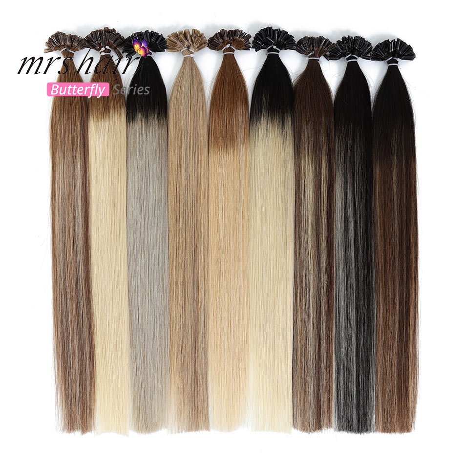 MRSHAIR Ombre Fusion Hair Extensions Straight Remy Nail Hair Keratin Pre Bonded Human Hair 1g/pc 14