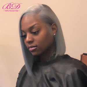 Wigs Straight Blonde Remy-Hair Short Bob Lace-Front Indian Black Women 1b/grey Pre Plucked