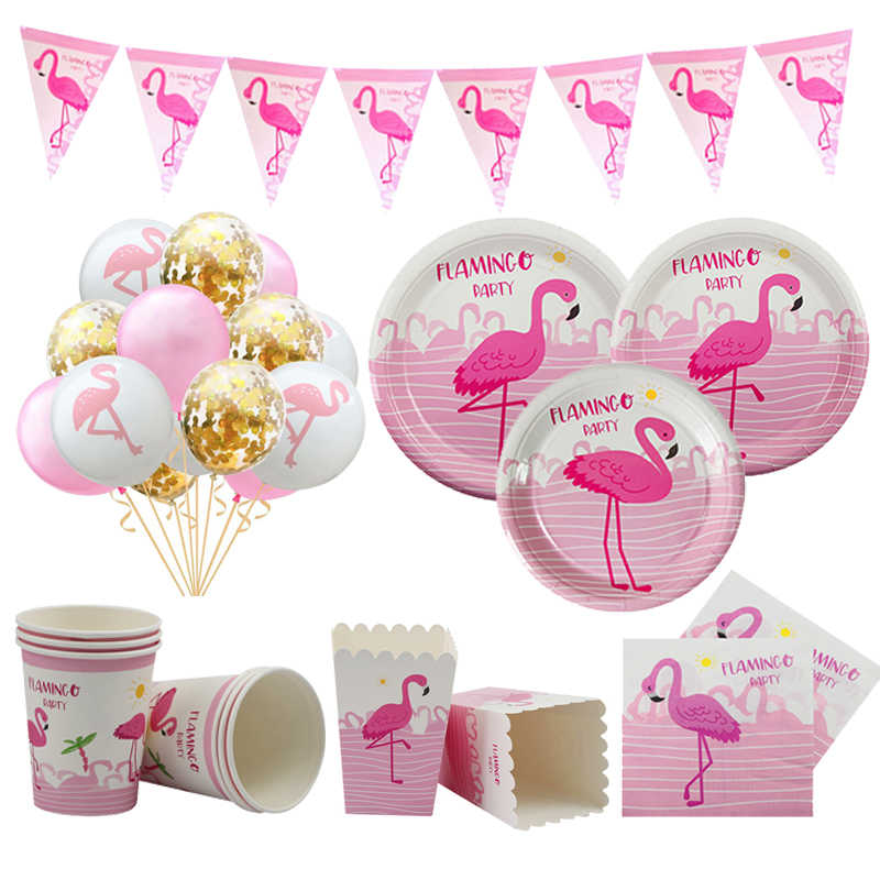 Tacobear Hawaiian Flamingo Party Decorations Tropical Summer Flamingo Party Supplies with Flamingo Honeycomb Paper Lanterns Paper Fans for Luau Summer Party Beach Garden Decoration