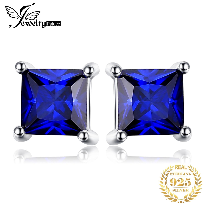 JewelryPalace Created Sapphire Stud Earrings 925 Sterling Silver Earrings for Women Gemstones Korean Earrings Fashion Jewelry