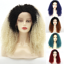 Free Shipping Natural Hair Glueless Dark Roots Ombre Blonde Afro Kinky Curly Synthetic Lace Front Wigs for Women Heat Resistant 2016 hot sale heat resistant synthetic lace front wigs long curly natural black for women free shipping untied braided