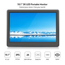 Elecrow 10.1 inch Monitor 2560*1600P LED Portable Computer HDMI LCD Display IPS 2K Screen Raspberry Pi