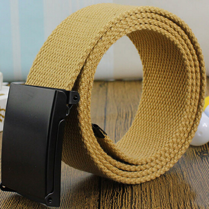 GAOKE High Qualtiy Men Belt Unisex Male Casual Buckle Belts Canvas Webbing Waistband Army Tactical Waist Belt