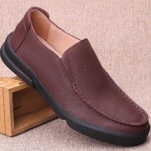 Image 3 - Chaussures en cuir naturel fait à la main pour hommes, respirantes de grande taille 11 12 13, mocassins de luxe de styliste, chaussures décontractées