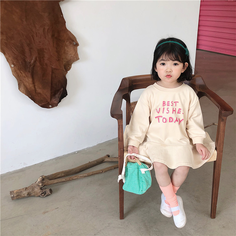 Image 4 - Spring New Arrival Korean style cotton letters printed all match loose long sleeve fashion dress for sweet cute baby girlsDresses   -