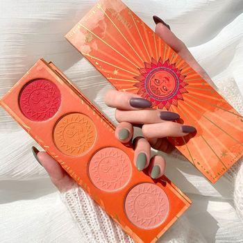 Paleta de Rubor Natural, 4 colores, Blanco, Naranja, perla, Sol sólido Natural,...