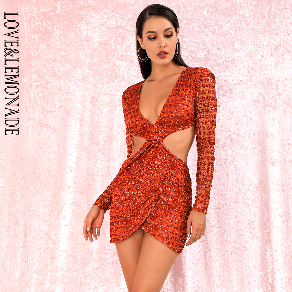 LOVE LEMONADE Sexy Orange Deep V neck Open back Cross glitter glued Material Slim Fit Party