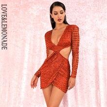 Aşk ve limonata seksi turuncu derin v yaka aç geri çapraz glitter yapıştırılmış malzeme Slim Fit parti elbise LM82065 2