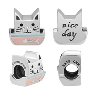 Beads 100% 925 Sterling Silver Curious Cat Charm for Jewelry Making Fit Charms Bracelets free shipping YK046