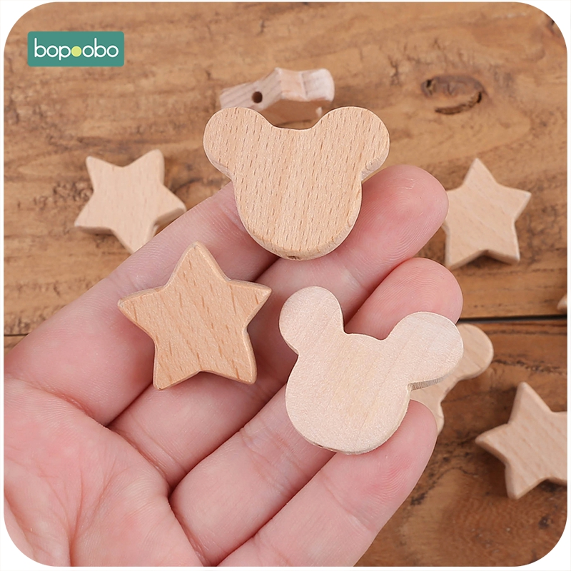 Купить с кэшбэком Bopoobo Beech Wooden Beads Teether Chewable 8-20mm Wood Tiny Rod For Children Beech  Wood Ring Teething Beads For Baby Teether