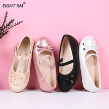 Buy EIGHT KM Mary Jane Flat Sandals Kids Leather Shoes Dress Formal Party Princess Shoes for Girls Fashion Butterfly-knot Footwear directly from merchant!