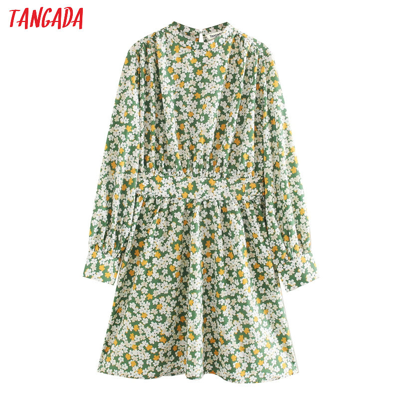 Tangada Fashion Women Green Flowers Print Elegant Dress Long Sleeve Ladies Vintage Short Dress Vestidos XN345