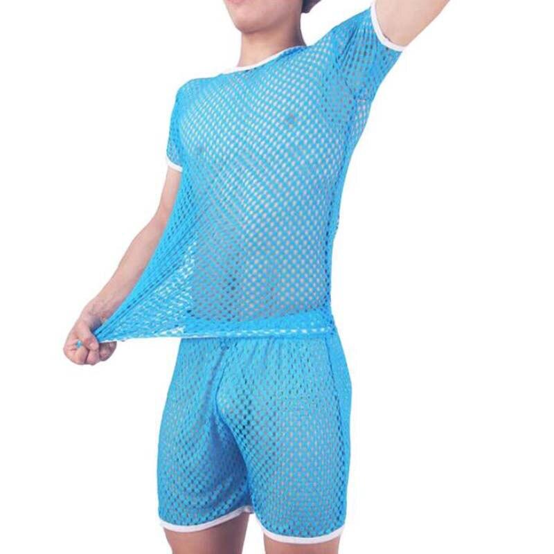 Sexy Men Underwear Home Costumes Pajamas Men Pijama Hombre Sleepwear Honeycomb Mesh Set Breathable Pyjama Homme Bielizna Nocna